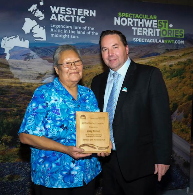 Minister of ITI presents Lucy Simon her award