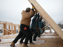 Hay River Construction Workers Placing  Wall