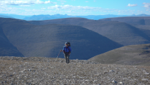 Hiker on the Mackenzie Mountains