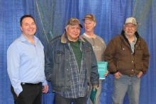 Announcement photo with Wally Schumann and members of the NWT Fishermen's Federation