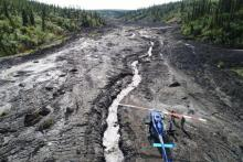 Helicopter lands in the Northwest Territories for geoscience work
