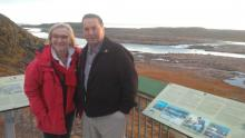 Wally Schumann and Carolyn Bennett in Iqaluit