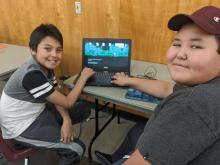 Hackspace NT Aklavik Youth Use a Computer to Learn Coding