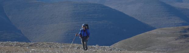 Hiker on the Mackenzie Mountains