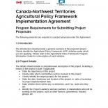 Canada-Northwest Territories Agricultural Policy Framework Implementation Agreement Program Requirements for Submitting Proposals